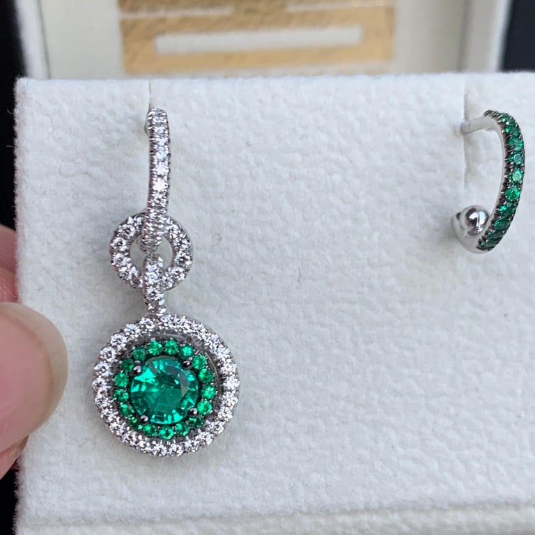 Round Cut Joke Quick Handmade Mismatched Columbian Emerald and Diamond Earrings For Sale