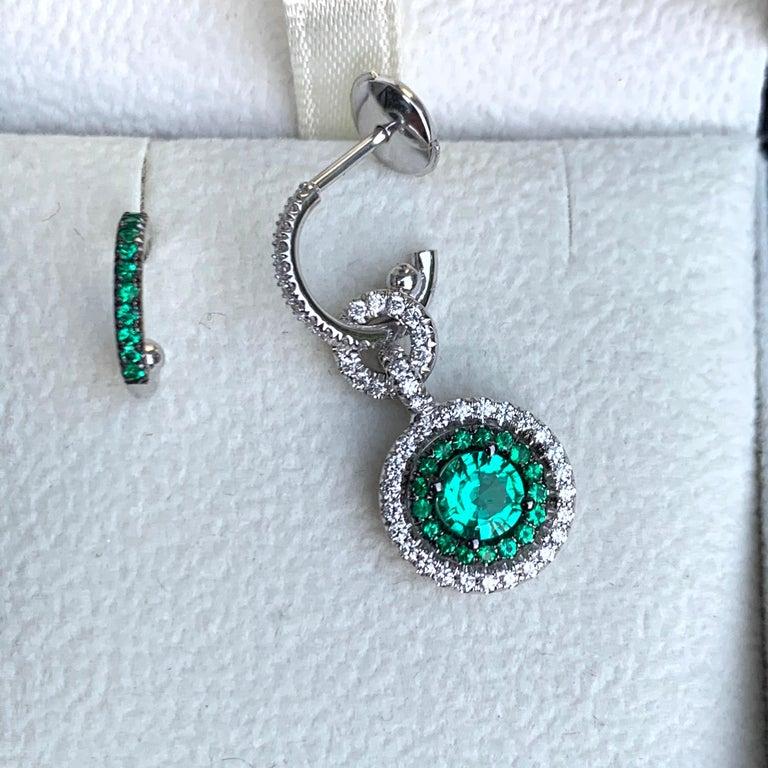 Joke Quick Handmade Mismatched Columbian Emerald and Diamond Earrings For Sale 1
