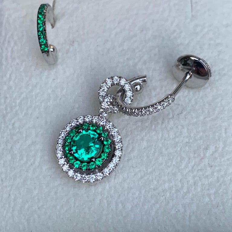 Joke Quick Handmade Mismatched Columbian Emerald and Diamond Earrings For Sale 2