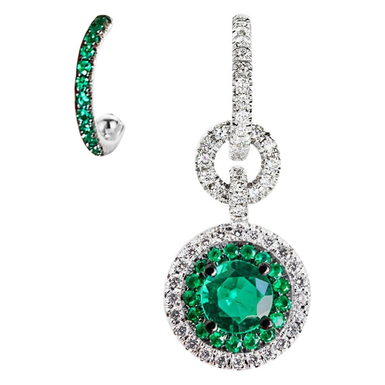 Joke Quick Handmade Mismatched Columbian Emerald and Diamond Earrings For Sale