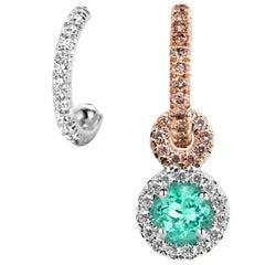 Joke Quick Handmade Mismatched Paraïba Tourmaline Pink White Diamond Earrings