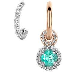 Joke Quick Handmade Mismatched Paraiba Tourmaline White Diamond Earrings