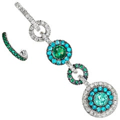 Joke Quick Handmade Paraïba Tourmaline, Emerald and Diamond Mismatched Earrings