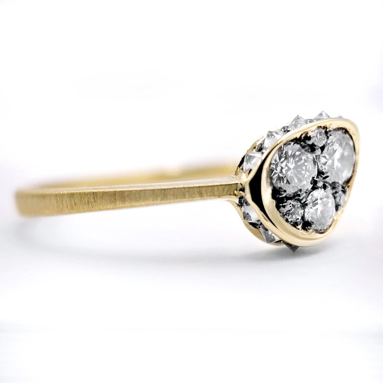 Artisan Joke Quick Inverted White Diamond Edge White Diamond Gold Innervisions Ring For Sale