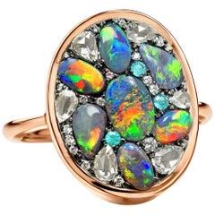 Joke Quick Lightning Ridge Black Opal Diamond Paraiba Tourmaline Mosaic Ring