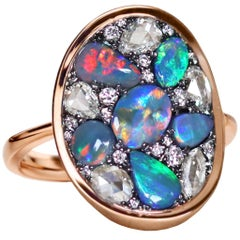 Joke Quick Lightning Ridge Black Opal Rose-Cut Diamond Mosaic Ring