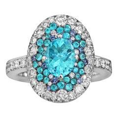 Joke Quick Neon Paraiba Tourmaline Diamond Unheated Blue Sapphire Ring