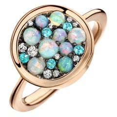 Joke Quick Paraiba Tourmaline Australian Opal White Diamond Starstruck Ring