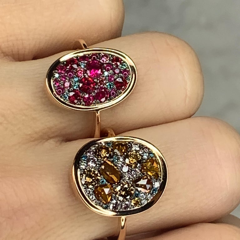 Women's Ruby, Pink and Blue Diamond Pave Ring For Sale