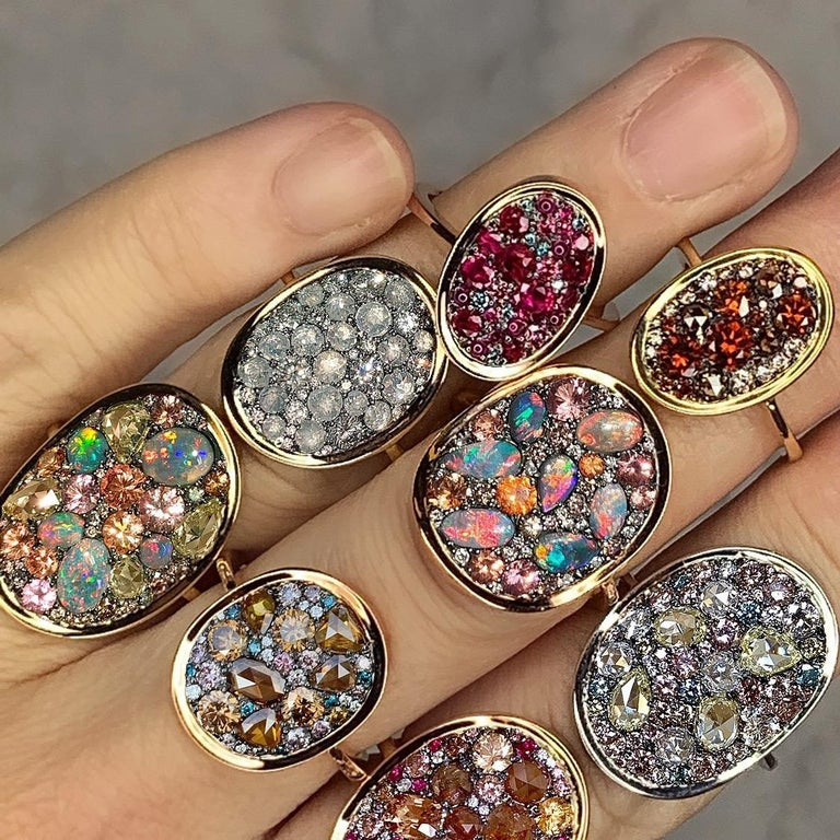 Ruby, Pink and Blue Diamond Pave Ring For Sale 1