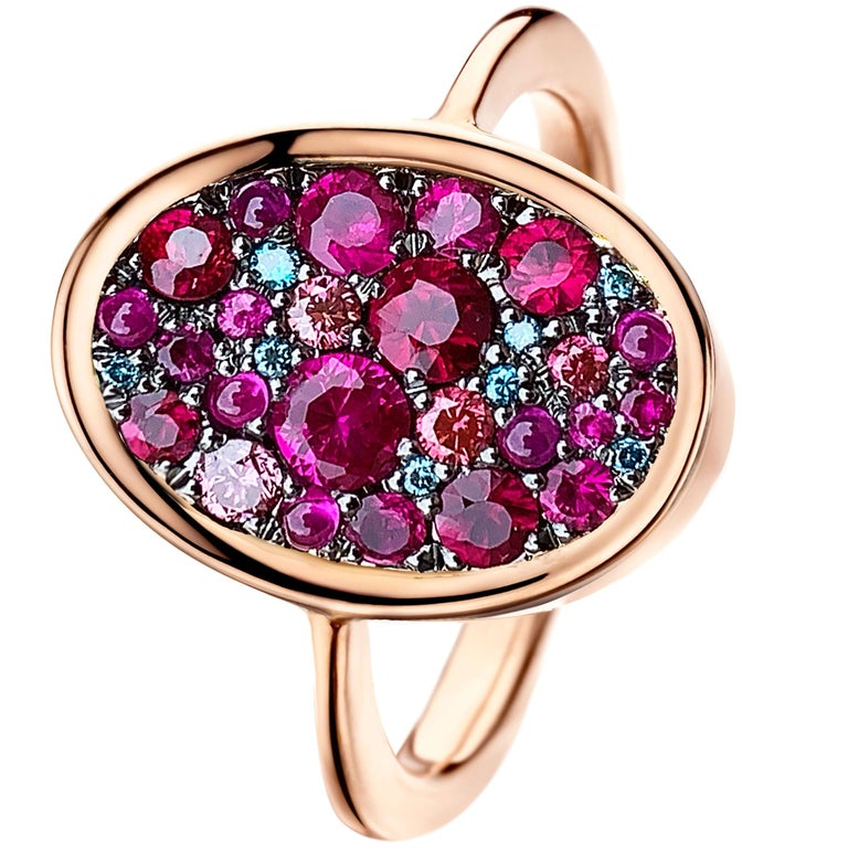 Ruby, Pink and Blue Diamond Pave Ring For Sale