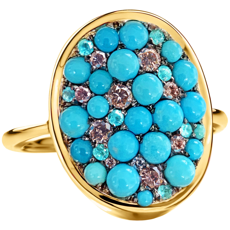 Joke Quick Turquoise, Pink Diamond, Paraïba Tourmaline Pave Ring