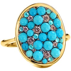 Joke Quick Turquoise, Pink Diamond, Paraïba Tourmaline Pave Ring