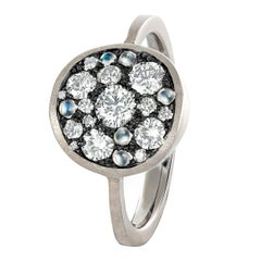 Joke Quick White Diamond Blue Moonstone Warm Gold Starstruck Ring