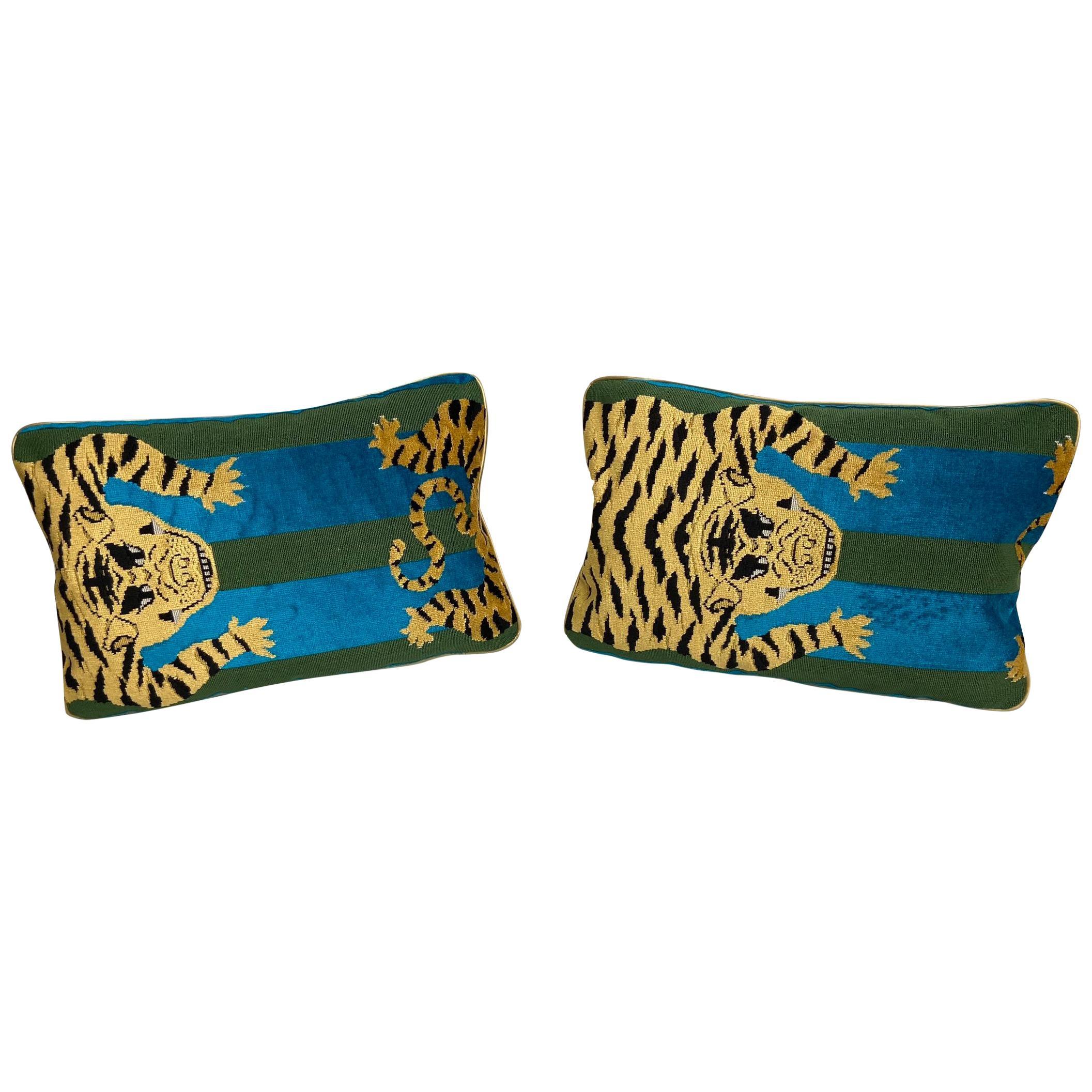 Jokhang Tiger Velvet Peacock & Olive Lumbar Pillows