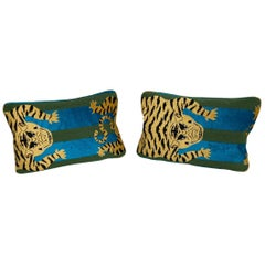Jokhang Tiger Velvet Peacock & Olive Lumbar Pillows