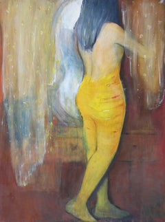 A woman standing back - XX Century, Figurative Oil Painting, Vibrant Colors