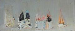 Silence - XXI century, Abstract oil painting, Minimalistic, Grey tones