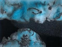 Snow Cloud - 21st Century Contemporary Painting, Black & blue