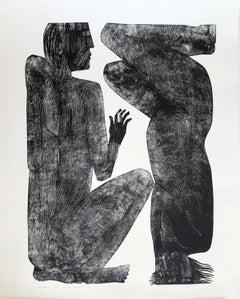 Human 2 - Contemporary Print, Figurative, Couple, Black & white