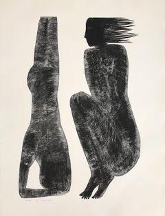 Human 8 - Contemporary Print, Figurative, Couple, Black & white