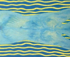 Blue Swimmer - 21st Century, Contemporary Oil Painting, Figurative, Minimalistic