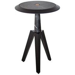 JOLE 21th Century Contemporary Black Coffee Table in Marble, Oak Wood & Brass