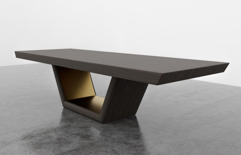 Modern JOLIE DINING TABLE - Ebony Oak Dinning Table with Metal Inlay For Sale