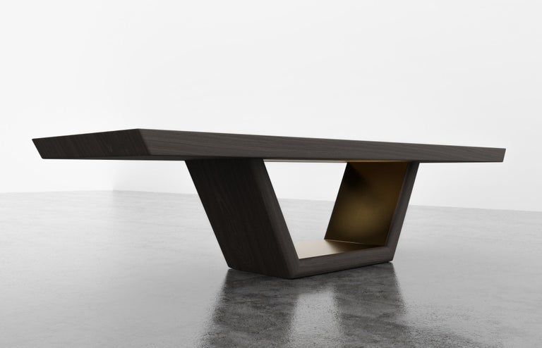 American JOLIE DINING TABLE - Ebony Oak Dinning Table with Metal Inlay For Sale