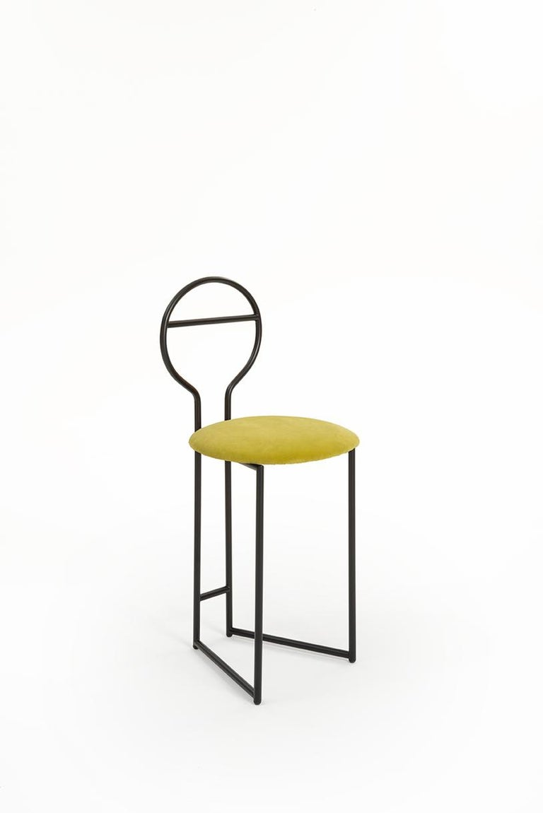 Joly Chairdrobe, High Back, Black Structure, Chartreuse Yellow Italian Velvet For Sale 7