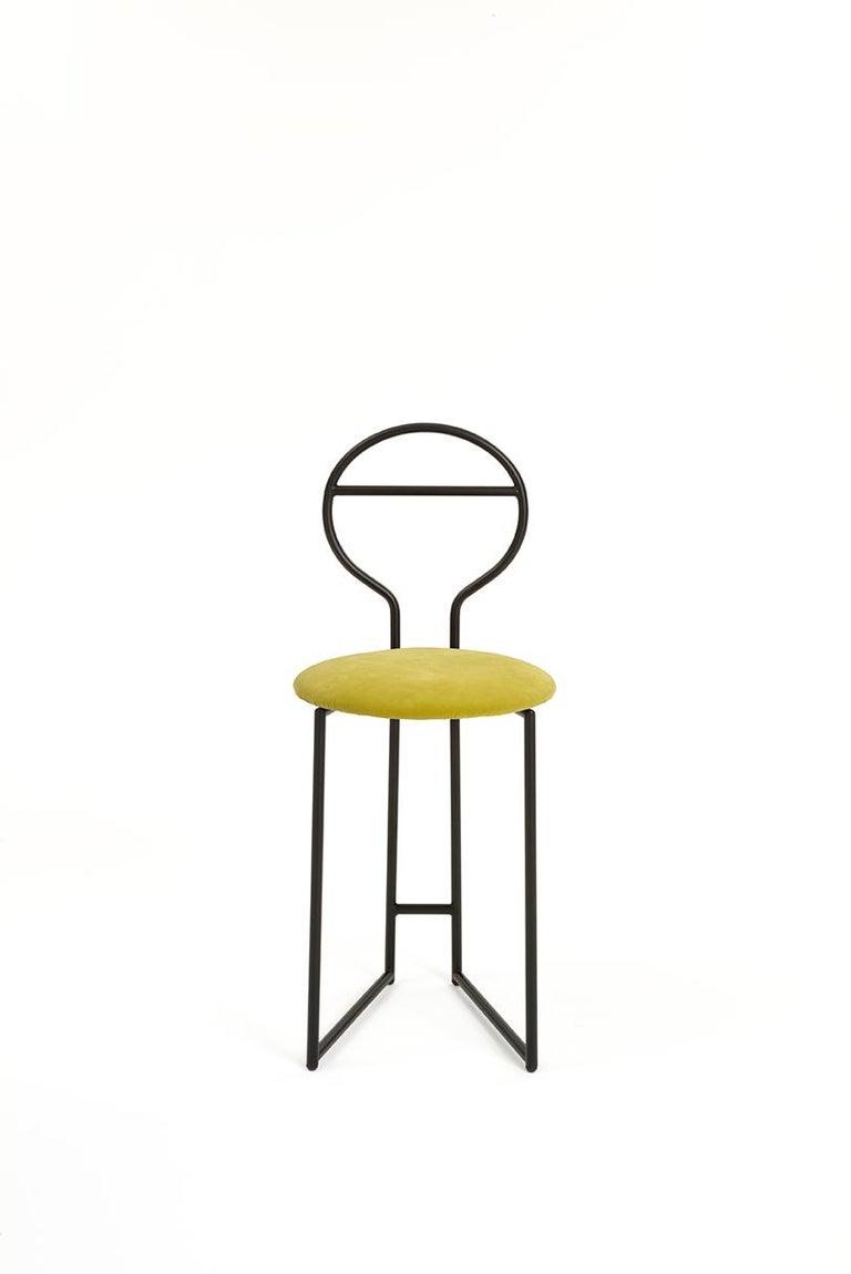 Joly Chairdrobe, High Back, Black Structure, Mint Green Fine Italian Velvet For Sale 6