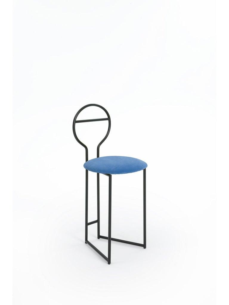 Joly Chairdrobe, High Back, Black Structure, Mint Green Fine Italian Velvet For Sale 8