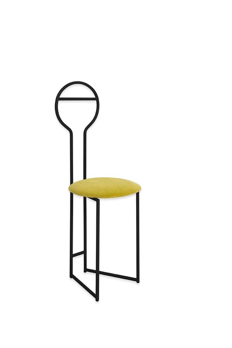 Modern Joly Chairdrobe, High Back, Black Structure, Mint Green Fine Italian Velvet For Sale