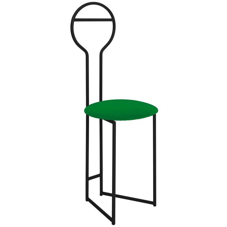 Joly Chairdrobe, High Back, Black Structure, Mint Green Fine Italian Velvet For Sale