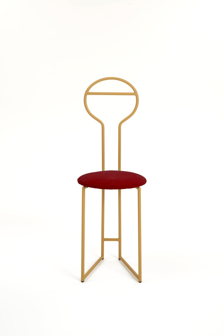 Joly Chairdrobe, High Back, Black Structure, Red Top Quality Italian Velvet For Sale 4