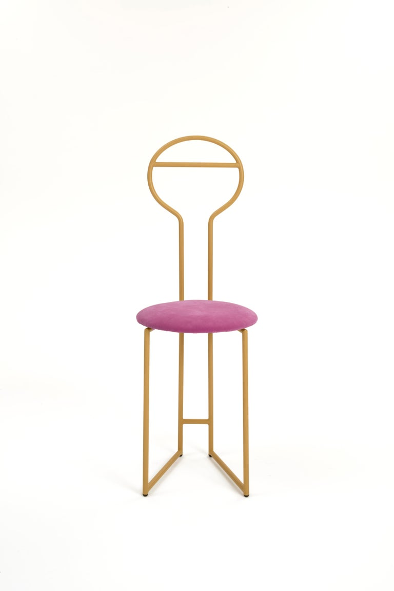 Steel Joly Chairdrobe, High Back, Black Structure, Red Top Quality Italian Velvet For Sale