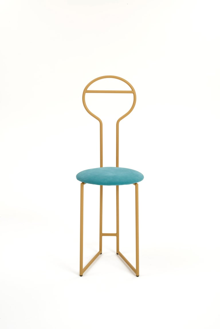 Joly Chairdrobe, High Back, Gold Structure and Red Fine Italian Velvet For Sale 2