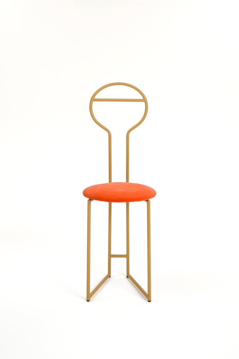Joly Chairdrobe, High Back, Gold Structure and Red Fine Italian Velvet For Sale 4