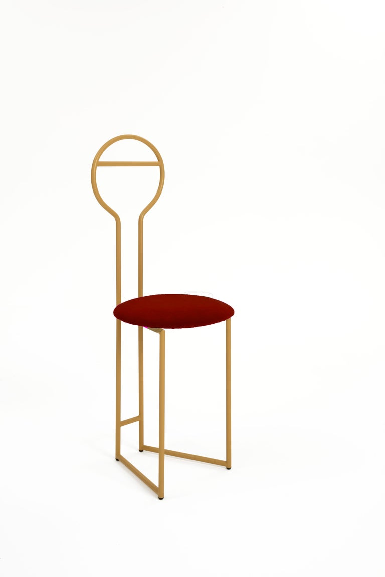Joly Chairdrobe design Lorenz + Kaz, 2019 Made of gold powder-coated metal with padded cushion seat in green velvet fire class E1 (the listed version). Available in 4 different fabric categories, including linen, felt, leather, eco-leather,