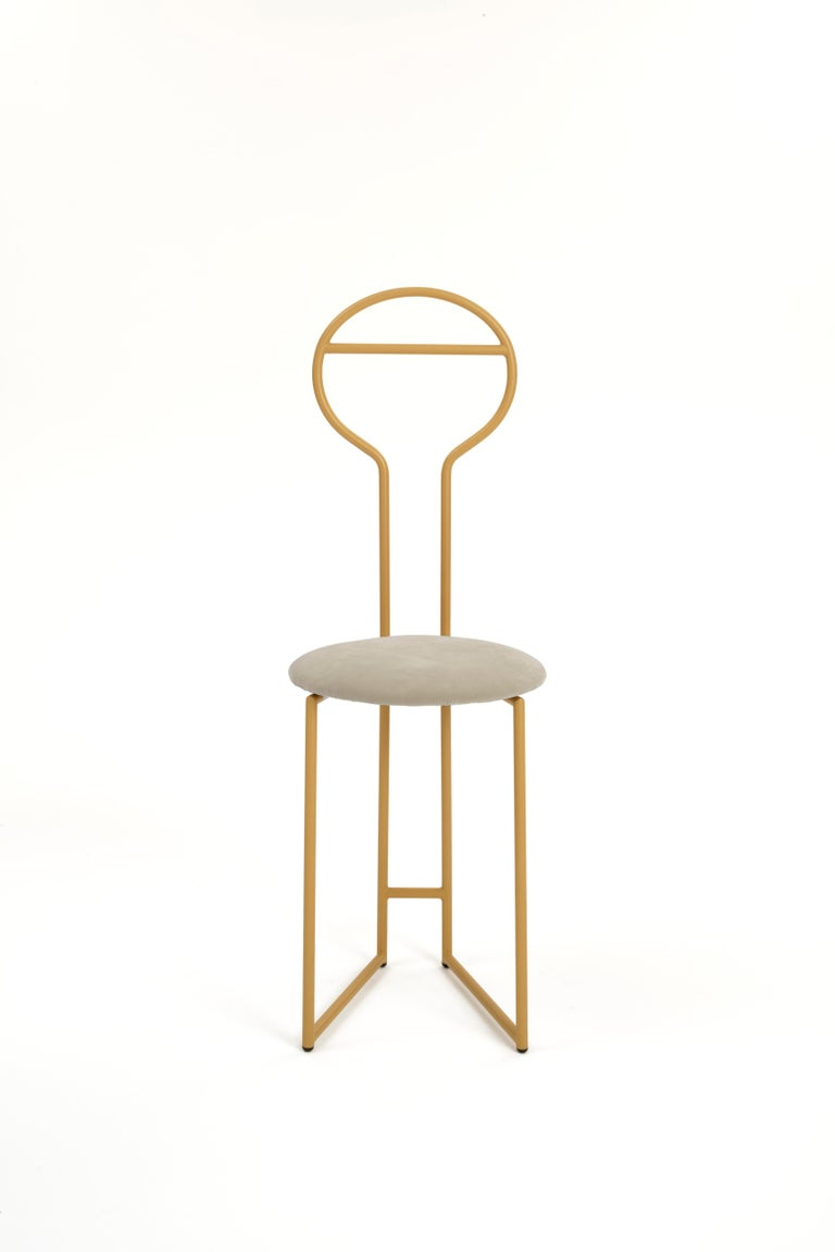 Steel Joly Chairdrobe, High Back, Gold Structure and Red Fine Italian Velvet For Sale