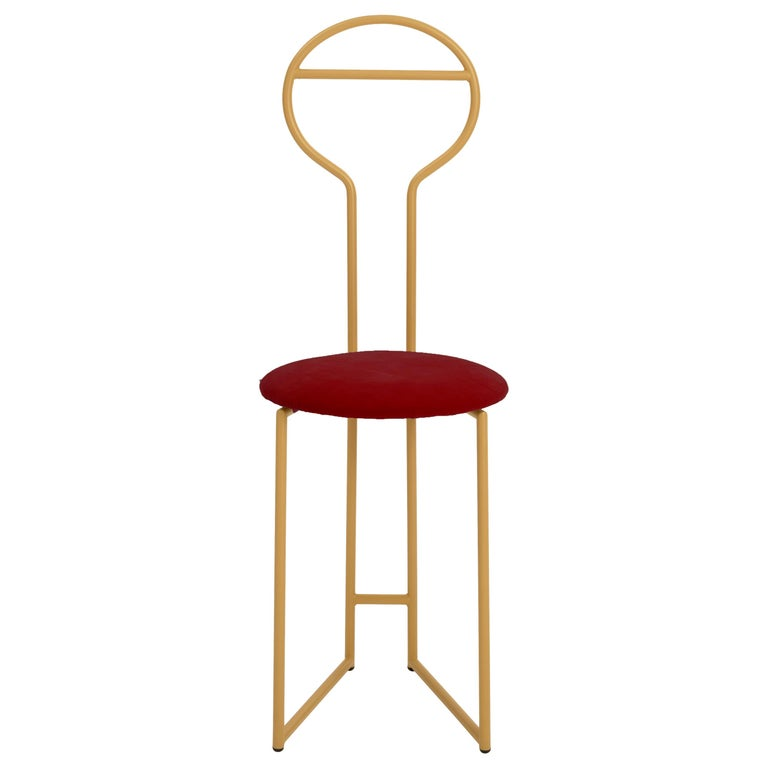 Joly Chairdrobe, High Back, Gold Structure and Red Fine Italian Velvet For Sale