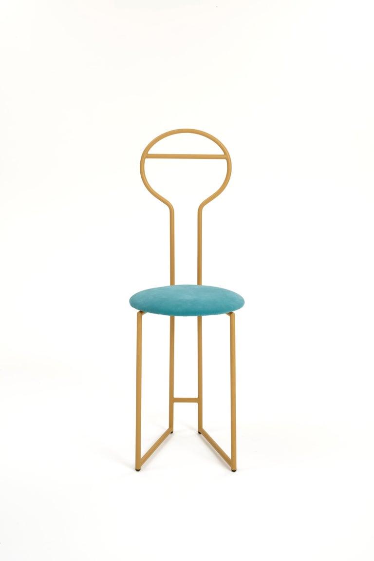 Modern Joly Chairdrobe, High Back, Gold Structure, Malva Violet Fine Italian Velvet For Sale