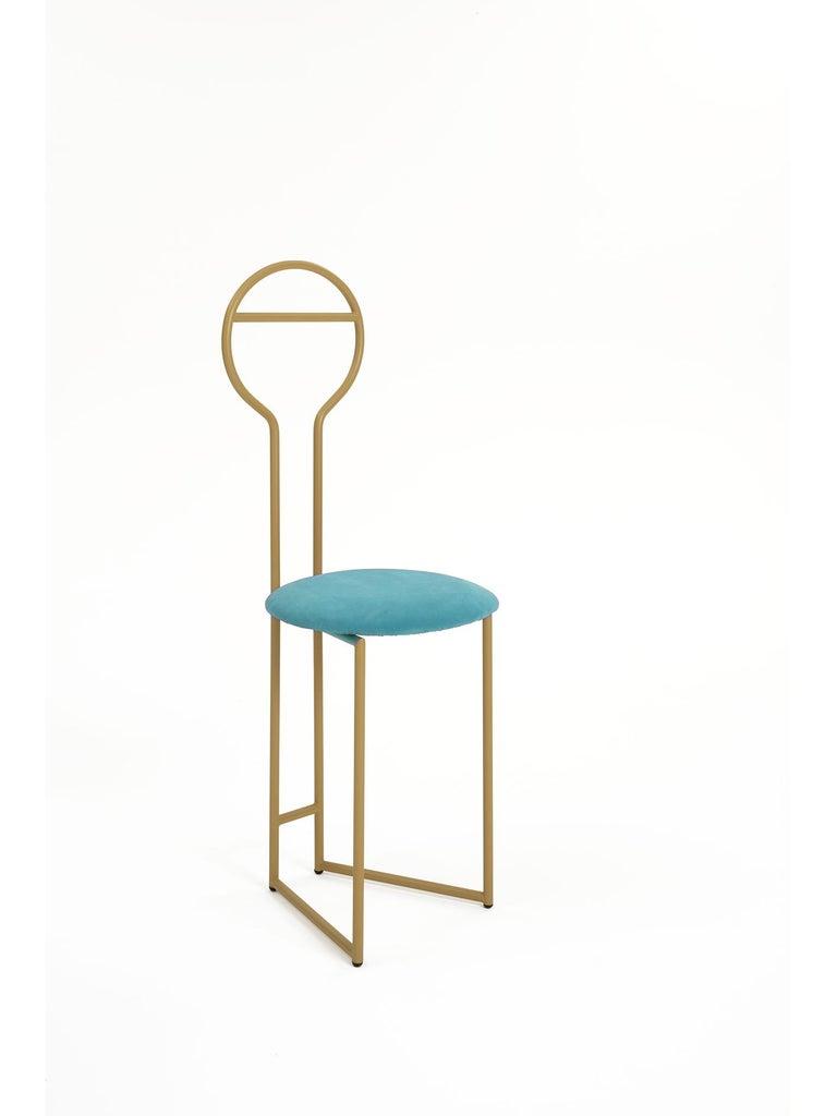 European Joly Chairdrobe, High Back, Gold Structure, Malva Violet Fine Italian Velvet For Sale