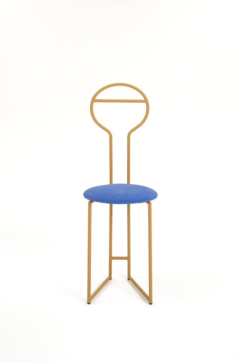 Carved Joly Chairdrobe, High Back, Gold Structure, Malva Violet Fine Italian Velvet For Sale