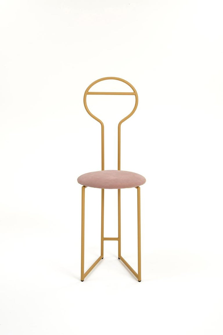 Joly Chairdrobe, High Back, Gold Structure, Malva Violet Fine Italian Velvet For Sale 1