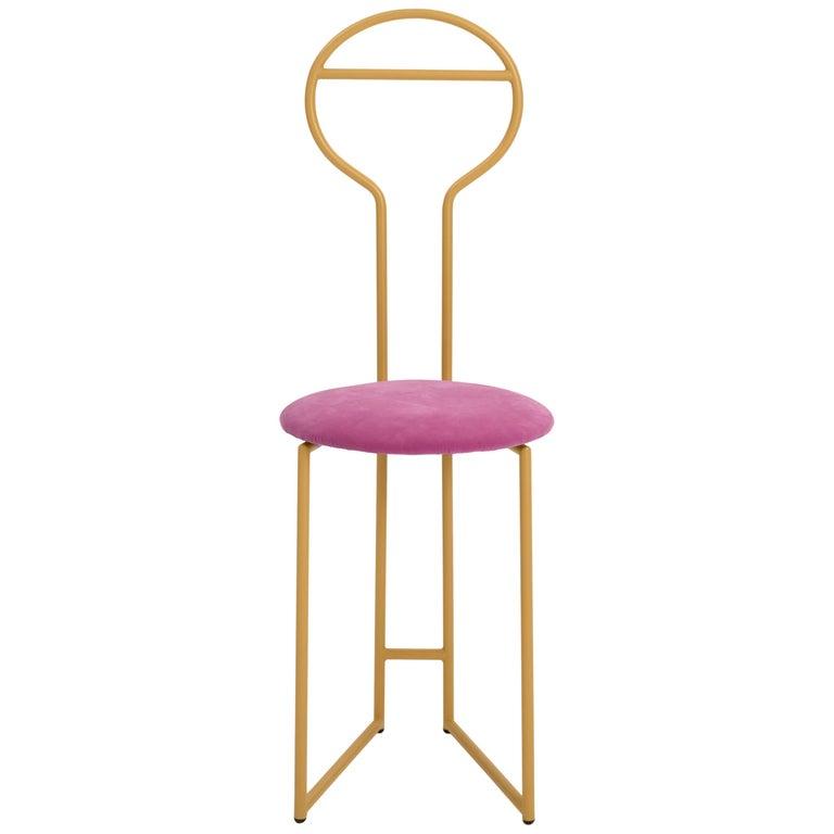 Joly Chairdrobe, High Back, Gold Structure, Malva Violet Fine Italian Velvet For Sale