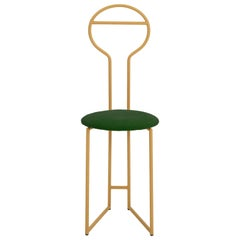 Joly Chairdrobe, High Back, Gold Structure Smerald Green Velvet