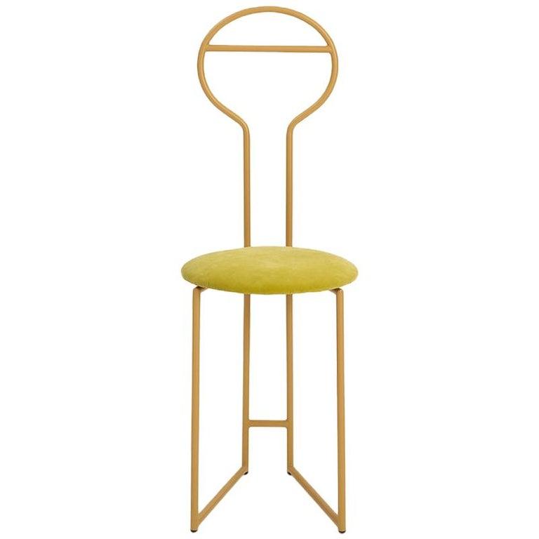 Joly Chairdrobe, High Back, Gold Structure, Tiffany Blue Fine Italian Velvet For Sale 2