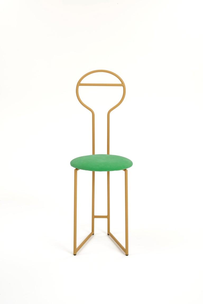 Joly Chairdrobe, High Back, Gold Structure, Tiffany Blue Fine Italian Velvet For Sale 3