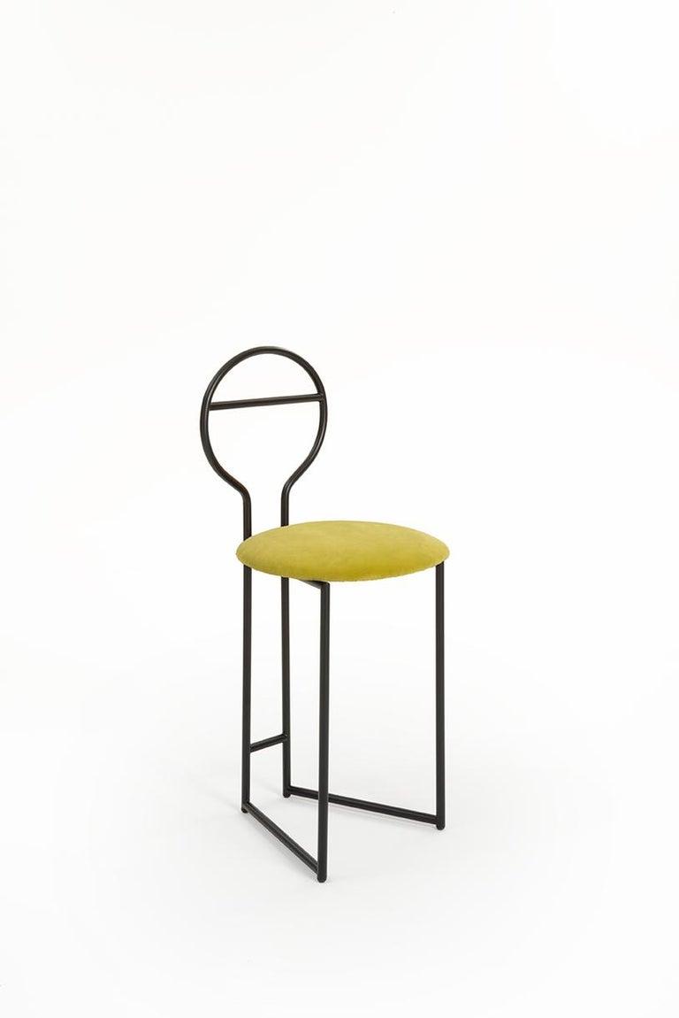 Joly Chairdrobe, High Back, Gold Structure, Tiffany Blue Fine Italian Velvet For Sale 8